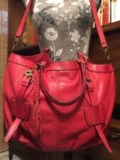 Lucky Brand Red Leather Large Convertible Tote Bag