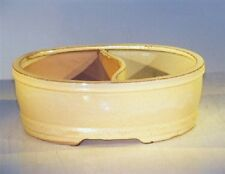 "Bonsai Land/Water Divided Pot Ceramic Beige Glazed Oval 10"" x 8"" x 3.75"" Od"