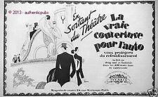 PUBLICITE MUSSIS COUVERTURE POUR AUTO EN SORTANT DU THEATRE LEON BENIGNI 1927 AD