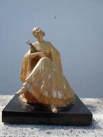 Statue femme à la mandoline d'époque art nouveau vers 1920