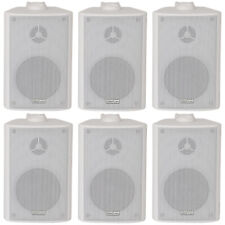 "6x 60W 2 Way White Wall Mounted Stereo Speakers -3"" 8Ohm- Mini Background Music"