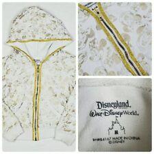 Disney Parks Minnie Mouse Girls Hoodie M 7 8 White Gold Hooded Sweatshirt Zip Up