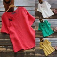 Mode Femme T-shirt Confortable Col Rond Manche Courte Beache Ample Haut Tops