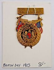 1903 British Day British American Fag Souvenir Pin Badge Medal C.M. Robbins Co.