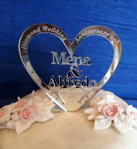 Mirrored Personalised  Wedding Diamond Silver Anniversary cake topper decoration
