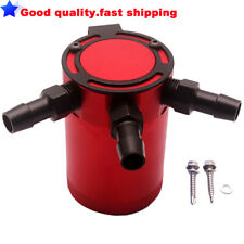 Universal Racing Baffled 3-Port Oil Catch Can / Tank / Air-Oil Separator (Red)