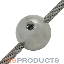 4mm Stainless Steel Wire Rope Threaded Ball Terminal End Stop Free P+P!