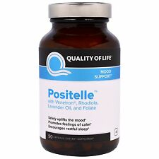Positelle - 90 Caps by Quality of Life - Safely Uplifts the Mood & Aids Sleep