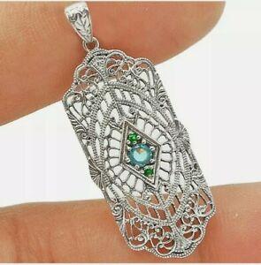 Aquamarine & Emerald 925 Sterling Silver Victorian Style Pendant Jewelry