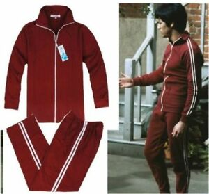 Bruce Lee Cotton Costume Classic Longstreet Red Kung-Fu Suits Tracksuit Uniform