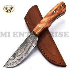 Handmade Damascus Steel Hunting Knife With Wood Handle Skinner