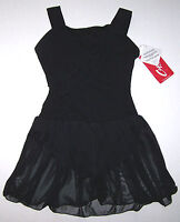 Nwt New Capezio Leotard Leo Dress Sheer Skirt Tank Diagonal Ruffles Black Girl