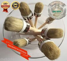 #HQ7 CHALK based PAINT & WAXING pure bristle SHABBY SET OF 7 ROUND BRUSHES