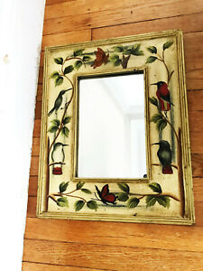 """Vtg Hand Painted Bird Framed Mirror or Picture Frame 20"""" x 16"""" Mirror 12"""" x 8"""""""