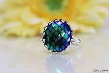 Glass Jewels Silber Ring Mermaid Pailletten Fantasy Größenverstellbar 52-56#R023