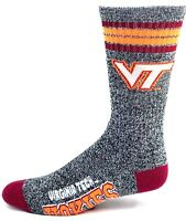 Virginia Tech Hokies NCAA Heather Gray Maroon Four Stripe Crew Socks