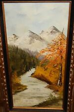 CAROL BLISS LARGE OIL ON CANVAS MOUNTAIN LANDSCAPE PAINTING