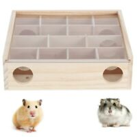 Wooden Hamster Maze Tunnel Gerbil Rat Mouse Animal Play Toys with Acrylic Glass
