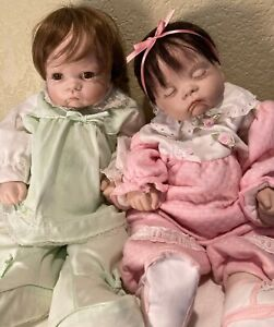 """Vintage """"Sugar Britches"""" Porcelain 19"""" Lot of 2 Dolls by Boots Tyner"""
