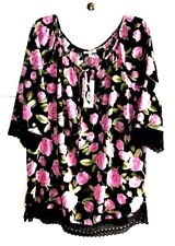 M P H 3X BLACK/Rose PRINT SCOOP-NECK/Tie WOVEN+LACE PULLOVER TUNIC Poly 3/4 NWT