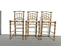 Set of Three Modern Faux Bamboo Style Carved Solid Wood Barstools  - No Seats