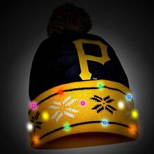 Pittsburgh Pirates Big Logo Light Up Printed Beanie Winter Hat Toque Cuffed Pom