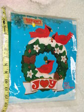 Titan Needlecraft Christmas Kit Felt Wall hanging JOY Wreath Cardinal Poinsettia