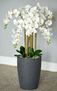 High  quality stunning artificial 1 meter tall orchid arrangement in vase