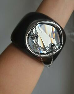 Swarovski Statement Faceted Crystal with Chain Resin Black Wrist Cuff Bracelet