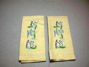 (2) Vintage Hemstitched Fingertip Tea Towel w/ Embroidery Mr-Mrs ~ 11 x 16