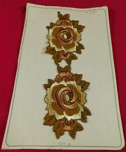 Vintage Unused Gold Metallic Yellow Embroidered Rose Pair Patch Applique Trim