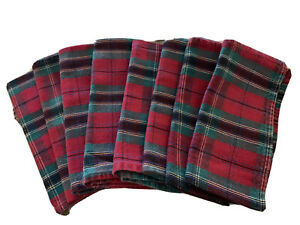 "Set 8 Christmas Red & Green Plaid Dinner Napkins 18-1/2""Squ."