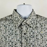 Berend Dewitt Mens White Green Floral L/S Dress Button Shirt Sz Large L Italy