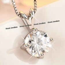 NEW Xmas Gifts For Her - 925 Silver Round Crystal Diamond Pendant Necklace Women