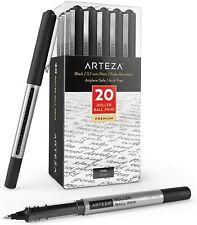 ARTEZA Roller Ball Pens, Black, 0.7 mm Bullet Point - Pack of 20