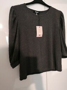 Missguided Plus Grey Ribbed Puff Sleeve Top Size 20