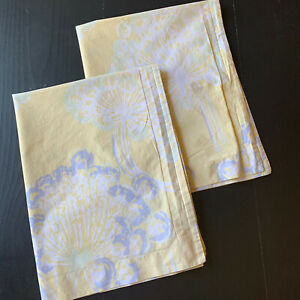 Pottery Barn PAIR Pillow Shams Florals Yellow Lavender White Standard Size