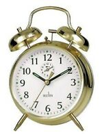 Acctim SAXON Keywound Traditional 12628 GOLD Wind Up Double Bell Alarm Clock