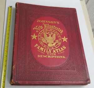 Johnson's New Illustrated Family Atlas Of The World 1865 READ DESCRIPTION!!!!