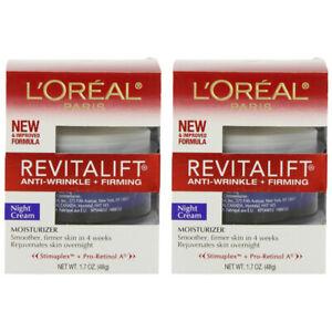 2-Pack New L'Oreal Paris RevitaLift Anti-Wrinkle + Firming Night Cream, 1.7 Oz