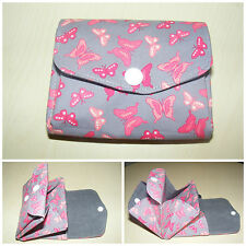 Butterfly Pink & Grey Fabric 3 Compartments Handmade Coin Purse