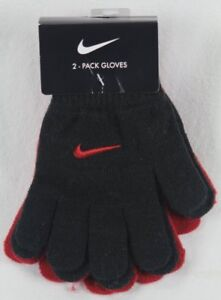 Nike Boys Swoosh Gloves Red Black Size 8/20 NWT