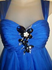 Anny Lee XS Dress Prom Formal Rhinestone Crystal Beaded Jewel Royal Blue Ruffle