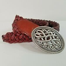 NWOT Wms Sz L Brown Leather Braided Belt Celtic Knot Silver Oval Western Buckle
