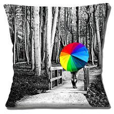 """BLACK & WHITE Woodland Walk Multi Colore Ombrello 16"""" x 16"""" 40cm Copricuscino"""
