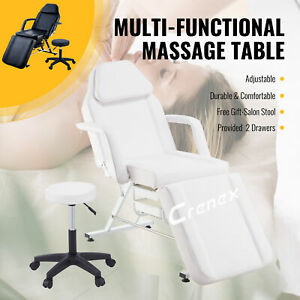 Massage Bed Table Therapy Tattoo Salon Pedicure Facial Sofa Bed Chair W/Stool