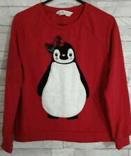 H&M Girls Christmas Jumper/Sweatshirt Age 9-10 Years Red Penguin Embroidered