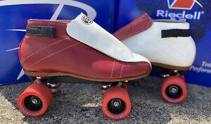 Custom Red & White Riedell 395 Roller Skate * Quad Skate * Jam Skate *