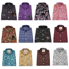Relco Paisley Shirt Long Sleeve Button Down Collar Mod Retro Floral Vintage Mens
