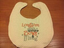 Longhorn Girls Wear Bows & Bling Embroidery Handmade Baby Bib